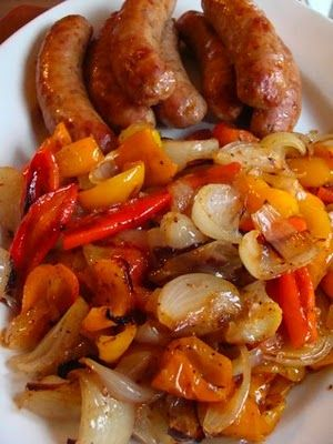 roasted sausages, peppers and onions