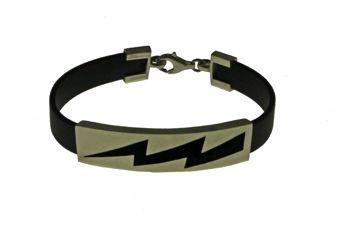 Handmade jewelry, men`s bracelet made of platinum plated silver 925o with lightning made of black enamel and black rubber. - Χειροποίητο κόσμημα, αντρικό βραχιόλι από επιπλατινωμένο ασήμι 925ο με σχέδιο αστραπή από μαύρο σμάλτο και καουτσούκ