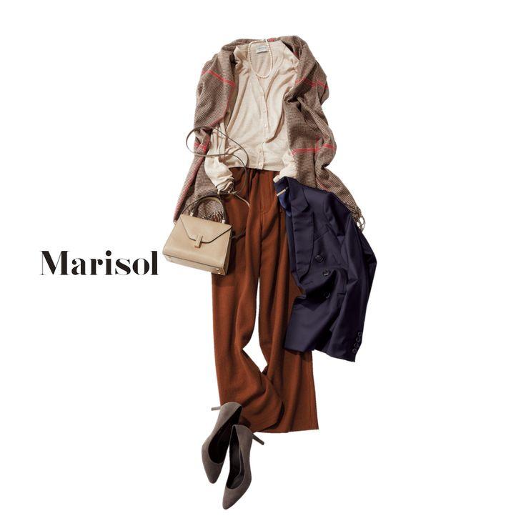 接待時はJK必須。ワイドパンツ&全留めカーデで今どきの着こなしをMarisol ONLINE|女っぷり上々!40代をもっとキレイに。