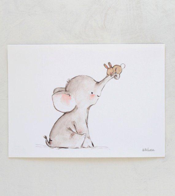 Elefant Kinderzimmer Kunst, Hase Kinderzimmer Kunst, Bunny Hug, Giclee Print, Kit Chase Kunstwerk, 5 x 7, 8 x 10, 11 x 14