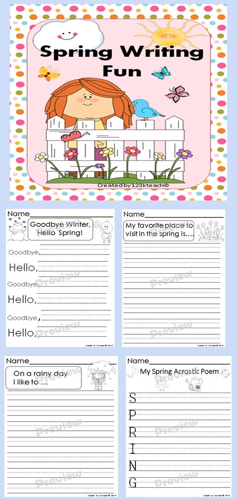 set of ten spring themed writing prompts on kid friendly lined paper ...