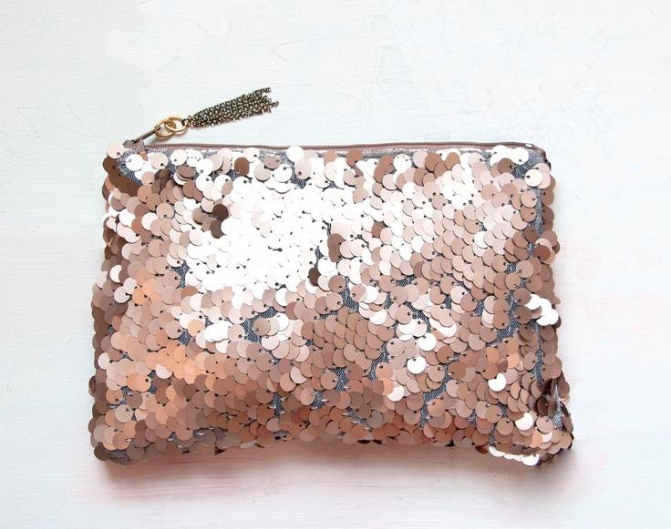WANT!   R O S E GOLD Sequin Clutch. Neutral Metallic Evening Clutch. Pink Quartz Pouch.. $68.00, via Etsy.