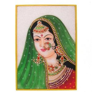 Unusual Art Embossed Miniature Painting On Marble Plate Of A Maharani and The Indian Jewelry: Amazon.co.uk: Kitchen & Home
