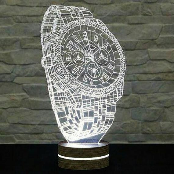 Clock 3d Illusion Acrylic Led Lamp This Cnc Files Dxf Cdr Etsy In 2020 3d Led Lamp Laser Engraved Acrylic Art Deco Lamps