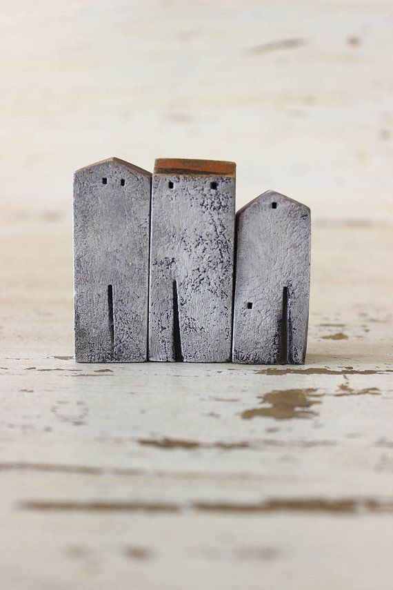set of 3 ceramic white and gray houses , made in high fired stoneware clay, painted with acrylic colors - HOME DECOR