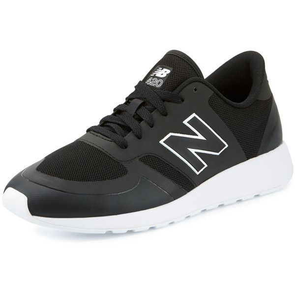 New Balance Men's 420 Re-Engineered Sneaker ($85) ❤ liked on Polyvore featuring men's fashion, men's shoes, men's sneakers, shoes, black, men's shoes sneakers, mens shoes, mens mesh shoes, mens lace up shoes and mens black sneakers