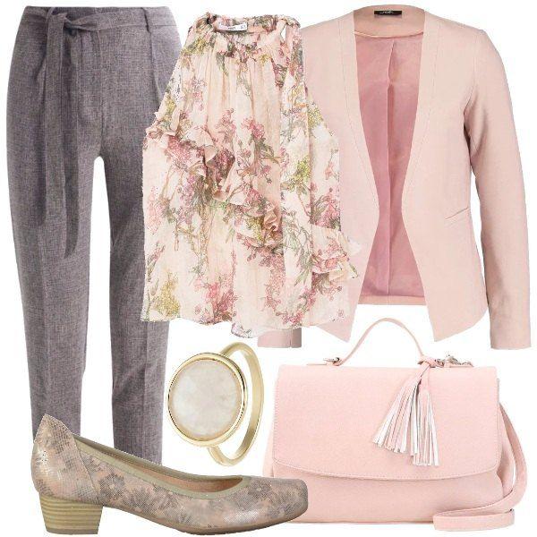 Una scarpa comoda, in pelle, a fantasia floreale adatta ad un outfit primaverile. Pantaloni grigi, a vita alta, blusa con ruches, a fantasia floreale, blazer a maniche lunghe, borsa in fintapelle, rosa e anello dorato.
