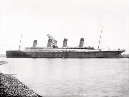 Titanic, port near profile during outfitting at Thompson deepwarter wharf. Photograph © National Museums Northern Ireland. Collection Harland & Wolff, Ulster Folk & Transport Museum