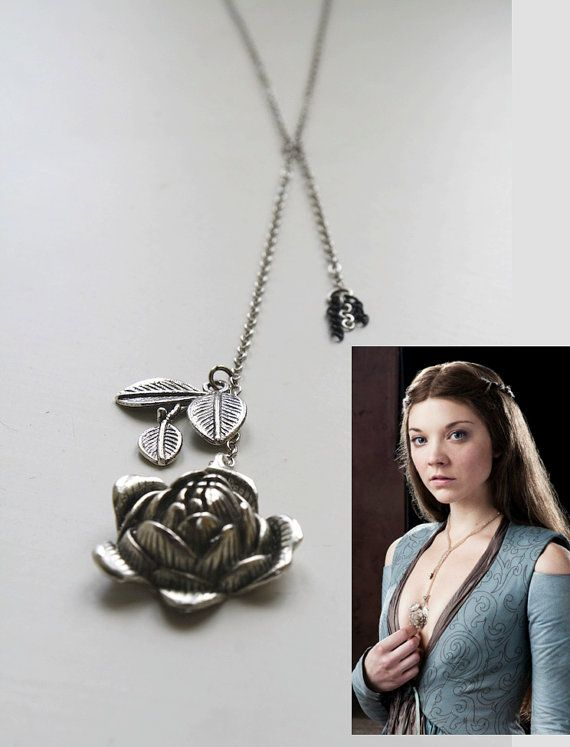 Game of Thrones Jewellery Margaery Tyrell Rose Necklace Cosplay Replica Silver Rose Necklace A Song of Ice and Fire on Etsy, $26.38