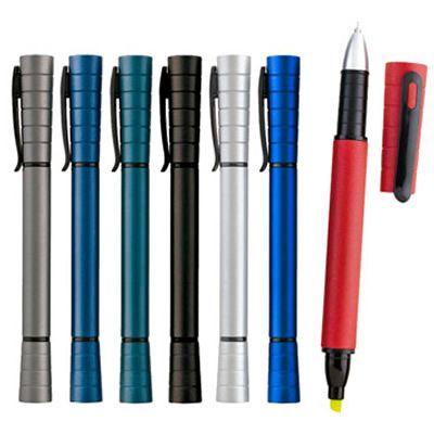 REF:ADVANT 2 EN 1 Cuerpo en Plástico.  Bolígrafo con Resaltador Amarillo. Resaltador de Tinta Disponible en Mina Normal y Mina Gel.  Bolígrafo Tinta Negra.  Con Acabado Metalizado Tipo de Producto: IMPORTADO.  Medida de Bolígrafo: 14.2 cm largo. Área de Marca: 4.5 cm ancho x 0.7 cm alto.  Técnica de Marca: Tampografía.  Colores Disponibles: Azul Oscuro, Silver, Azul Rey, Rojo, Azul Reflex, Gris Oscuro, Blanco y Negro.  Cantidad Mínima de Pedido:400