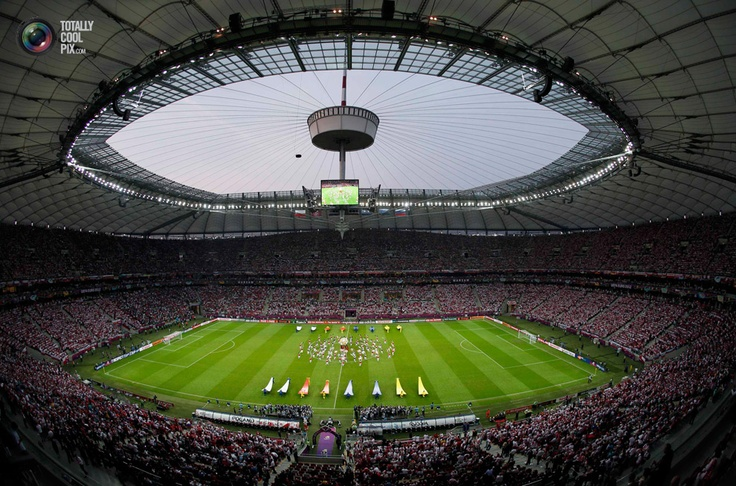 national stadium in Warsaw before the Group A Euro 2012 soccer match between Russia and Poland.