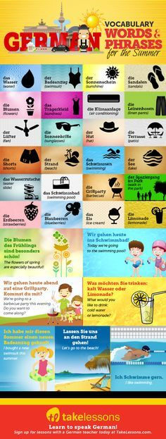 31 German Vocabulary Words and Phrases for the Summer http://takelessons.com/blog/german-vocabulary-summer-z12?utm_source=social&utm_medium=blog&utm_campaign=pinterest