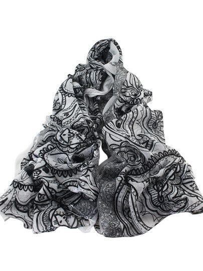 Bufanda de gasa con estampado geométrico estilo étnico - blanco