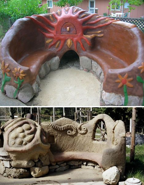 I don't like the top image, but a handmade rocket oven/cob bench combo would be really cool for a backyard.
