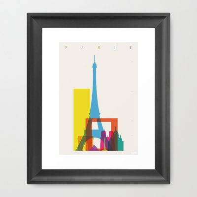 Shapes+of+Paris.+Accurate+to+scale.+Framed+Art+Print+by+Glen+Gould+-+$37.00
