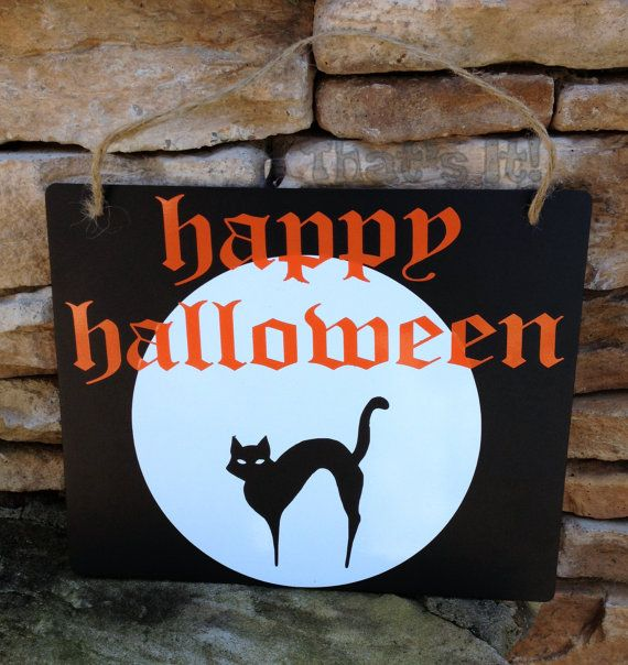 Happy Halloween Sign Chalkboard Look, Free Shipping, Thick Black Plastic Orange White