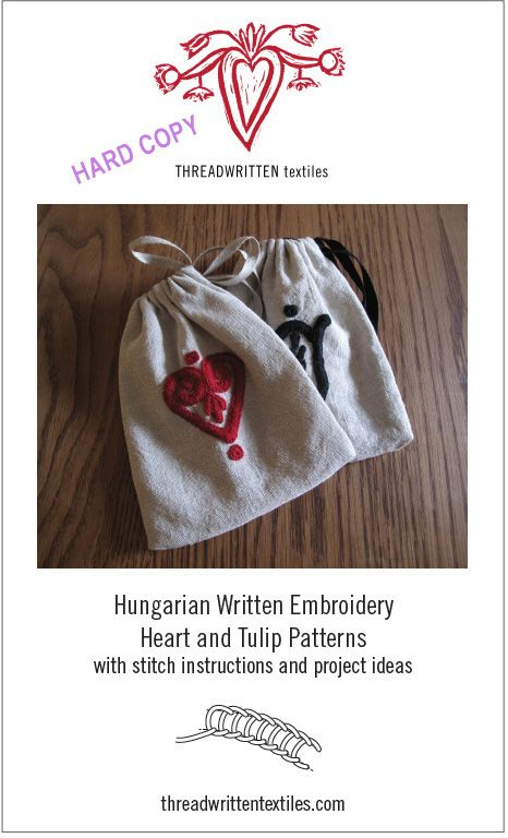 ThreadWritten DIY heart and tulip written embroidery patterns and stitch instructions.  Hard copy and digital download available.