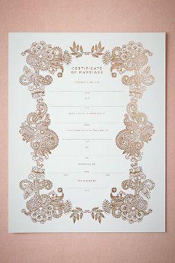 Keepsake Marriage Certificate Very sentimental.  #BHLDNwishes