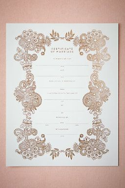 Keepsake Marriage Certificate this would be so special #BHLDNwishes