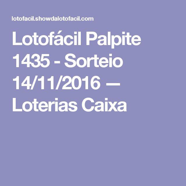 Lotofácil Palpite 1435 - Sorteio 14/11/2016 — Loterias Caixa