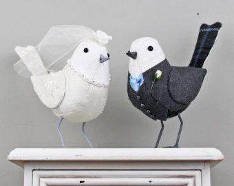 Stoff-Vogel Hochzeit Kuchen Spitzenwerken von TheCottonPotter