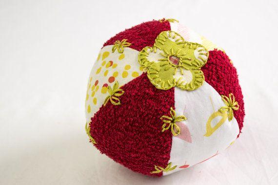 Baby Ball Soft ToyBath ToyFlower Applique  Hand by heaventoseven, $18.00