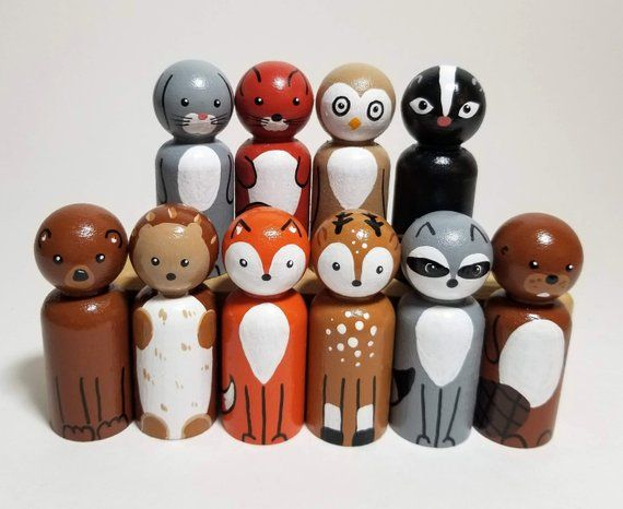 Woodland Animal Peg Doll Set, Wooden Animals, Woodland Nursery Decor, Wooden Forest Creatures