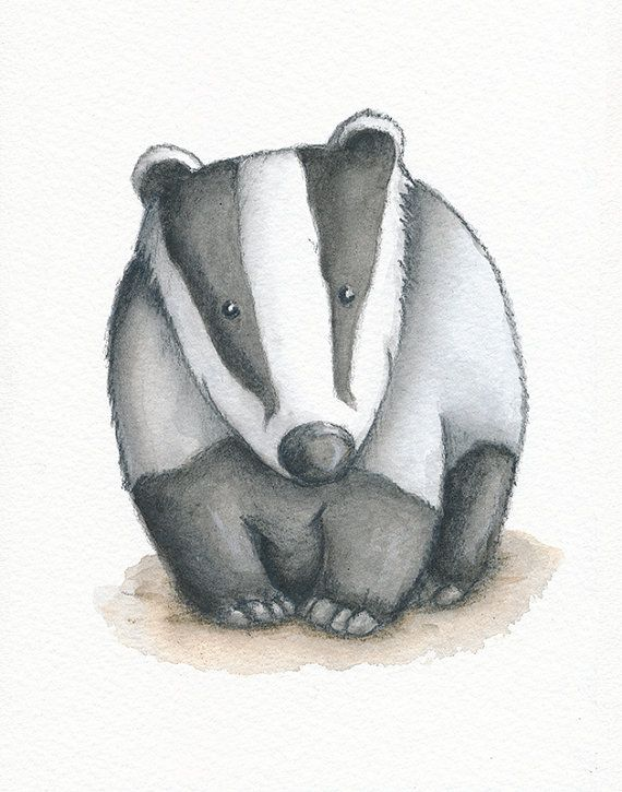 Badger print - Badger illustration - Nursery wall art - Childrens print - Watercolour - Can be personalised or as an alphabet print