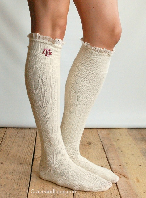 Lacey Fan TEXAS A Boot Socks cable knit boot sock with lace and school logo - Collegiate boot socks