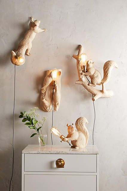 Flying Squirrel Handcarved Woodlore Sconce - #anthroregistry