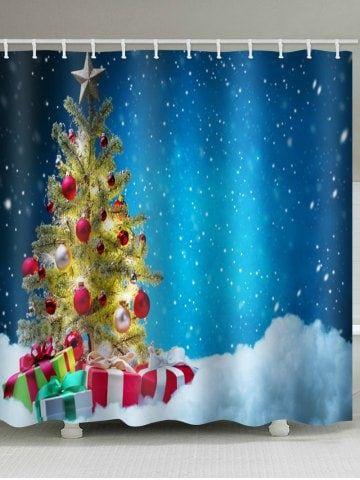 Christmas Tree Snow Print Waterproof Bathroom Shower Curtain