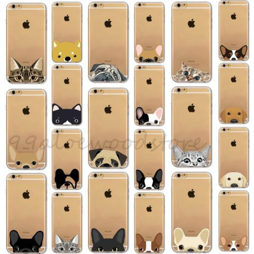 Pet-Dog-amp-Cat-Printed-Clear-Soft-TPU-Case-Cover-For-iPhone-4-4S-5S-SE-5C-6-6S-Plus