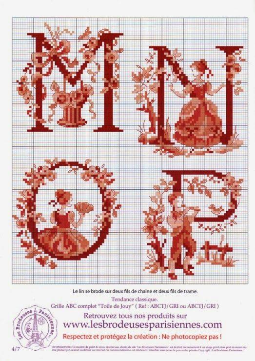 Obsessive Craft: Thread numbers for Les brodeuses Parisiennes - Les Grands ABC Tolie De Jouy Alphabet, Letter, cross stitch, xstitch, point de croix, punto cruz, diy, handmade, çarpı işi, etamin, needlework