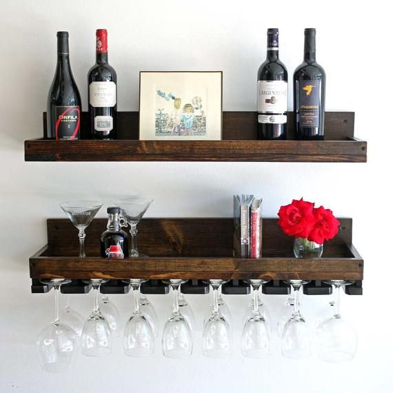Rustic Wood Wine Rack Wall Mounted Shelf And Hanging Stemware Glass Holders Beveled Floating Bar Shelves Organizer Wine Glass Shelf Wine Rack Wall Wall Mounted Wine Rack