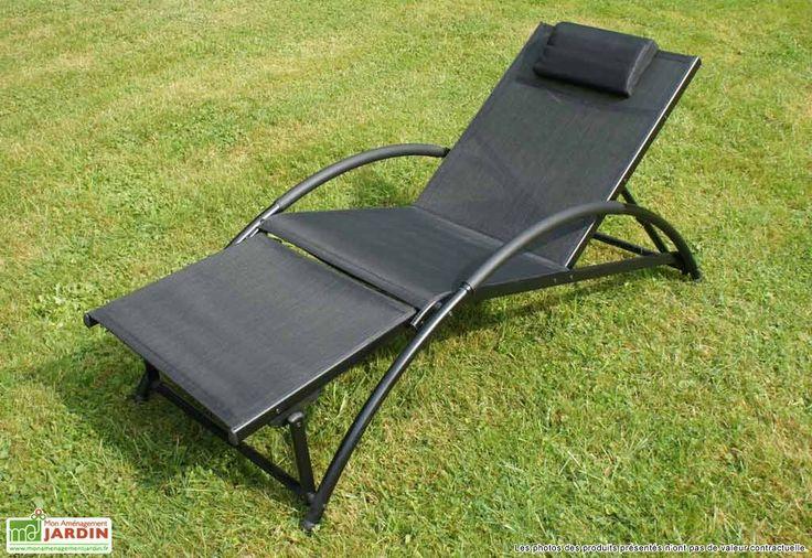 Bain de soleil Pliant Textilène Gym Noir (65x180x90)