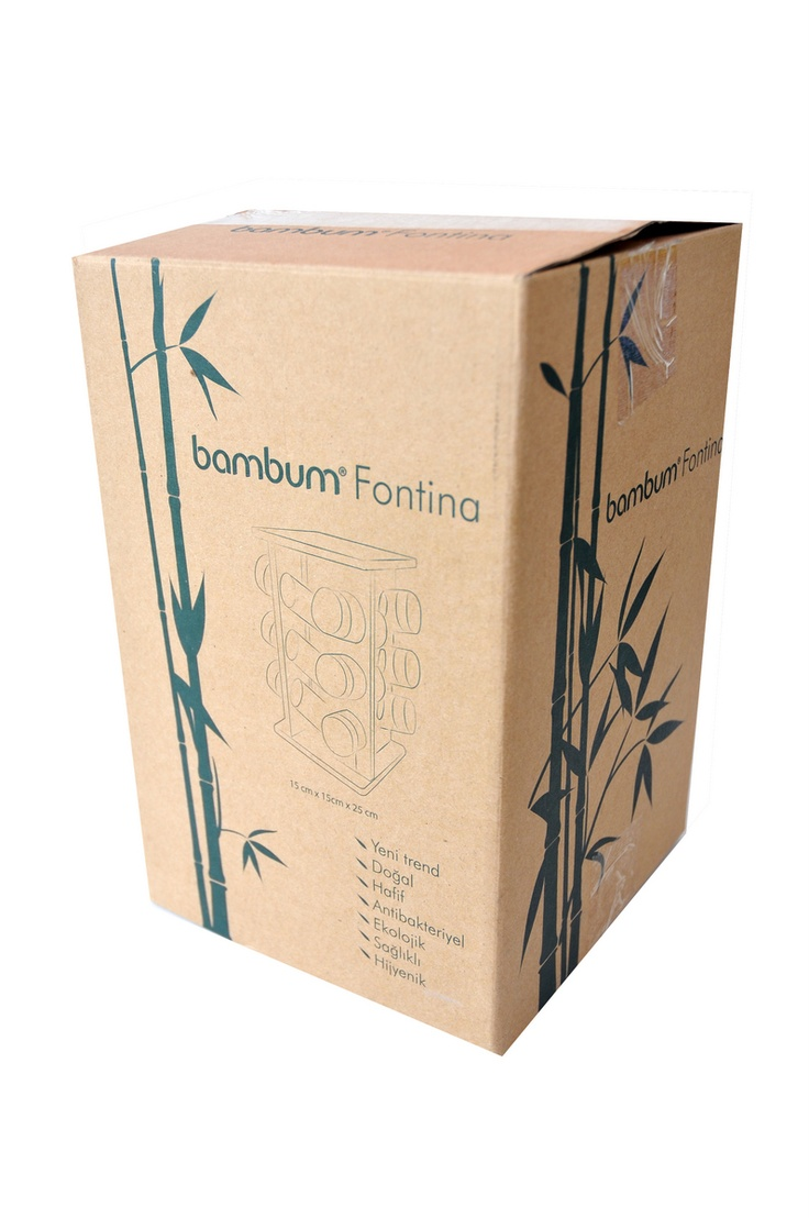 Bambum Fontina Baharatlık mutfağınızın vazgeçilmezi olacaktır. Üzerinde 12 adet farklı baharatlık bulunması ve 360 derece kendi etrafında dönebilen mekanızması sayesinde tüm baharatlık ihtiyaçlarınıza şık ve sağlıklı bir çözüm olacaktır.    Ürün Boyutları (cm) : 15x15x25