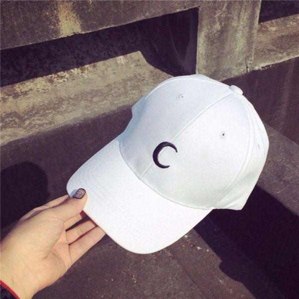 0ac779fc83f Men Women White Moon Hat Hip Hop Kpop Sport Curved Strapback Adjustable  Baseball Cap
