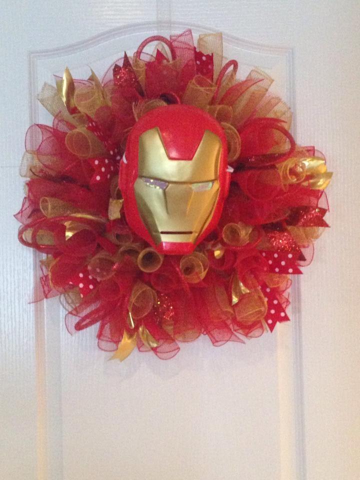 For those superhero fans ... an Iron Man deco mesh wreath!
