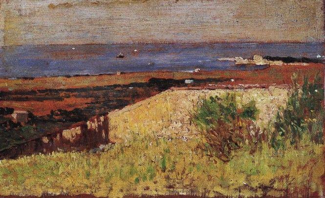 """Giovanni Fattori (Livorno 1825- Firenze 1908), """" Muro bianco nel paesaggio Antignano"""" del 1875. olio su tavola, collezione privata"""