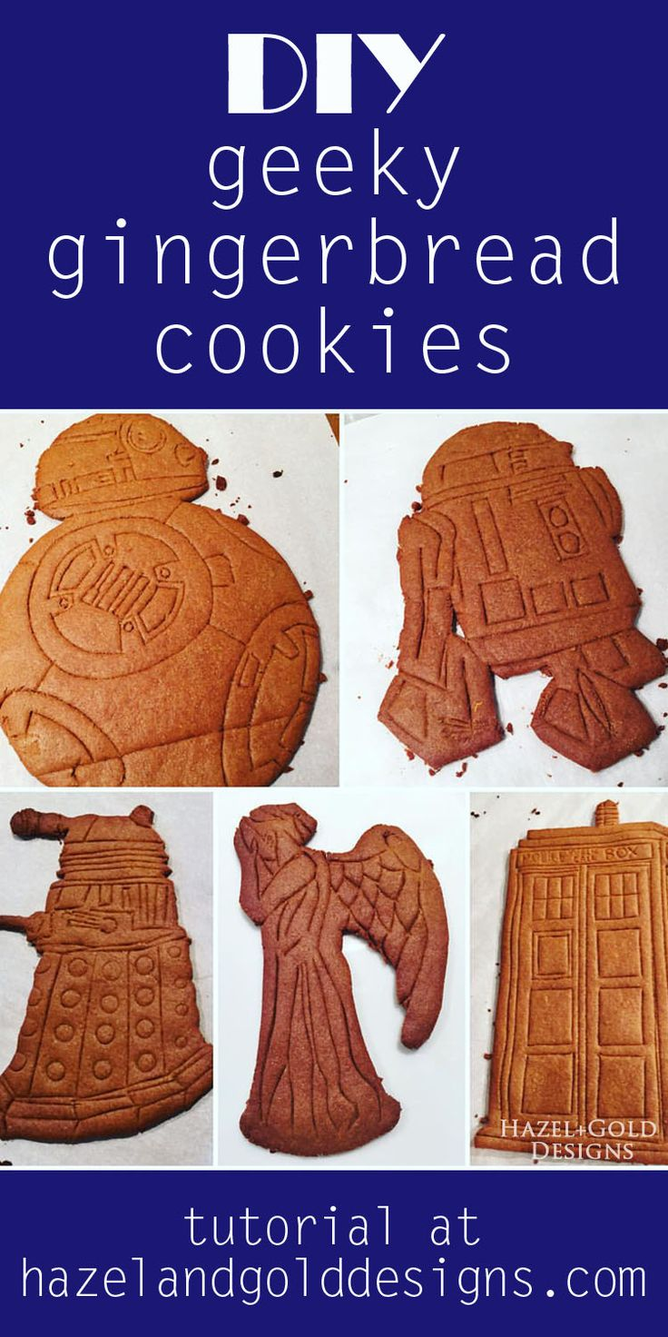 Learn how to make your own gingerbread designs; geek gingerbread, doctor who cookies, star wars cookies, sci fi cookies, diy gingerbread, tutorial, bb8, dalek, r2d2, weeping angel, TARDIS