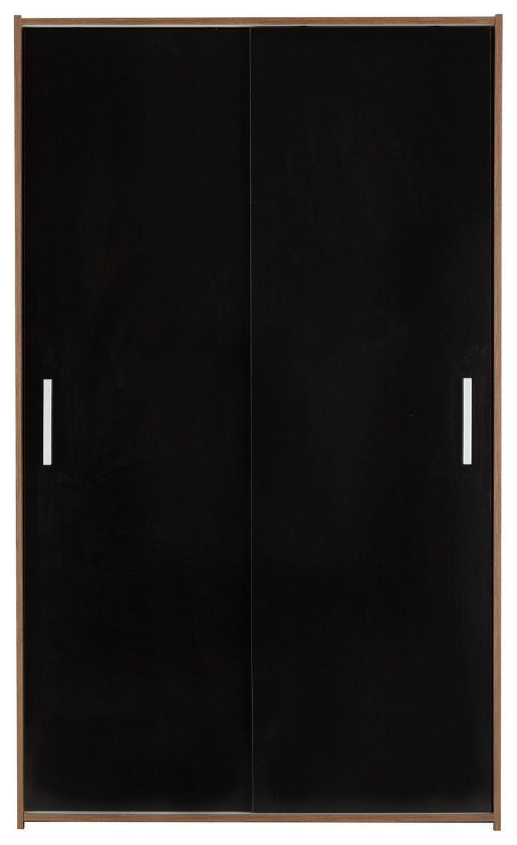 cool HOME New Sywell 2 Dr Sliding Wardrobe -Walnut & Black Gloss