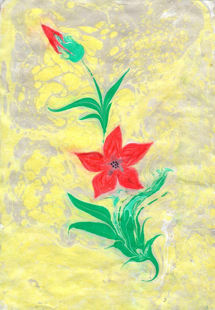 Ebru,painting on the water, red flower.Эбру, рисование на воде. Цветок.