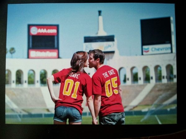 Pinterest Exclusive: This couple staged the Save the Date for their #wedding at the Los Angeles Memorial Coliseum! Beginning the rest of their lives at the home of Trojan football -- What's your most sentimental memory on campus? #FightOn: The Angel, Wedding Photo
