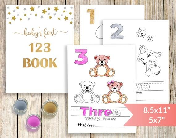 Baby S First Numbers Book Baby S 123 Coloring Book Baby Shower Coloring Activity Printable Counting Book Baby Shower Game Baby Shower Book Color Activities Baby Book