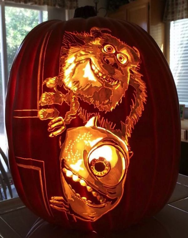 Sulley and Mike Pumpkin Carving