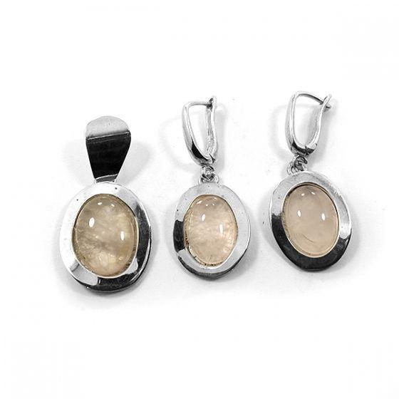 Ezüst medál és fülbevaló szett rózsakvarc kővel /67394/