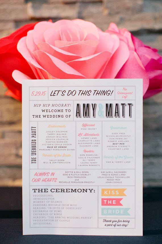 Wedding program--pretty and easy to print on 8.5x11 at home