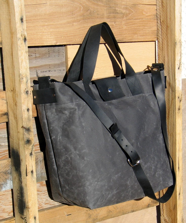 Waxed Canvas Tote with Leather Handles and Detachable Leather Strap