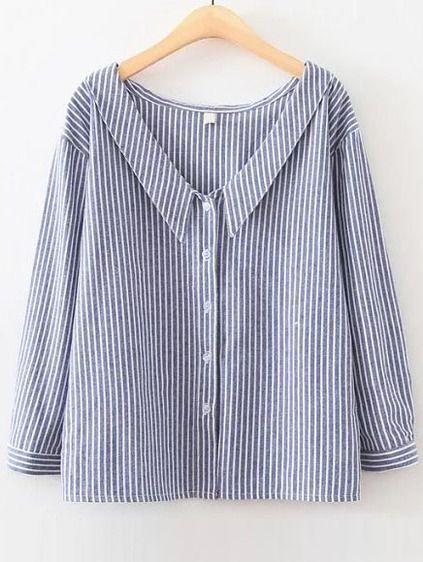 Blue Vertical Striped V Neck Button Up Blouse Mobile Site