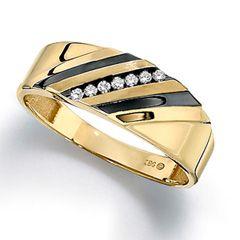 Men's Diamond Accent Slant Wedding Band in 10K Gold